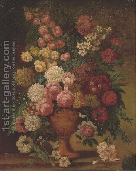 Roses, chrysanthemums, a parrot tulip, morning glory, narcissi and other flowers in a carved urn on a ledge by (after) Jan Van Os - Reproduction Oil Painting