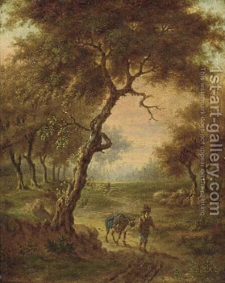 A wooded landscape with a traveller on a path by (after) Jan Wynants - Reproduction Oil Painting