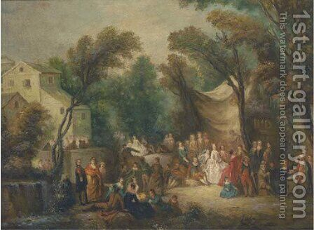 The garden party by Jean-Antoine Watteau - Reproduction Oil Painting