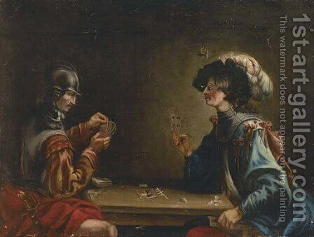 Two guardsmen playing cards in an interior by (after) Jean De Boulogne Valentin - Reproduction Oil Painting