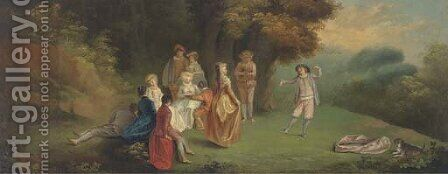 A Fete Champetre 2 by Jean-Antoine Watteau - Reproduction Oil Painting