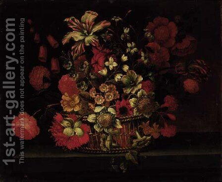 A basket of flowers on a ledge by (after) Jean-Baptiste Monnoyer - Reproduction Oil Painting