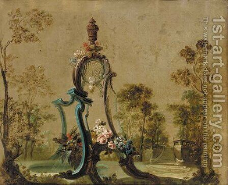 A decorative fountain in a garden by (after) Jean-Baptiste Pillement - Reproduction Oil Painting