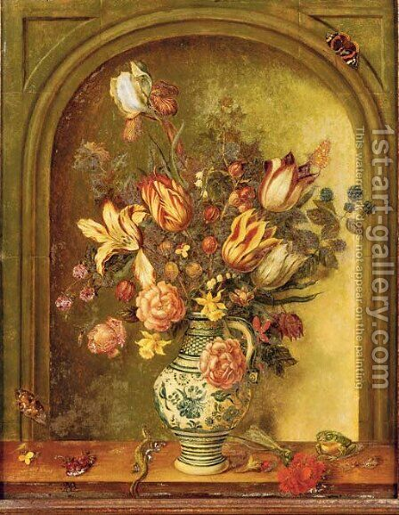 Tulips, roses, lilies and other flowers with blackberries and gooseberries in a porcelain vase by (after) Johannes Baers - Reproduction Oil Painting