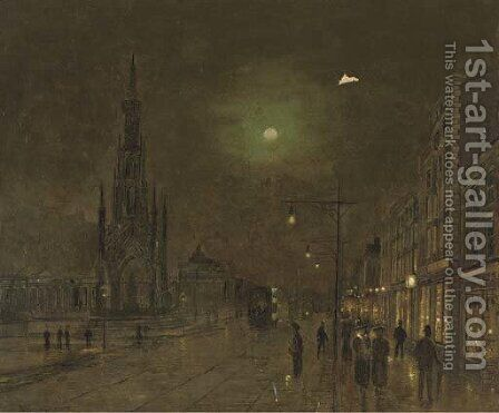 The Scott Memorial and Princes's Street, Edinburgh at night by (after) John Atkinson Grimshaw - Reproduction Oil Painting