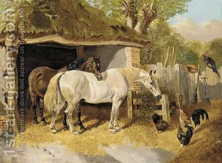 Horses and chickens in a farmyard by (after) John Frederick Jnr Herring - Reproduction Oil Painting