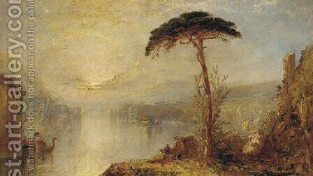 Figures by the water at dusk, a Venetian capriccio by (after) Joseph Mallord William Turner - Reproduction Oil Painting