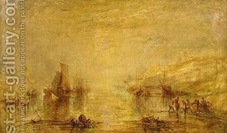 Fisherfolk on the beach with a castle beyond by (after) Joseph Mallord William Turner - Reproduction Oil Painting