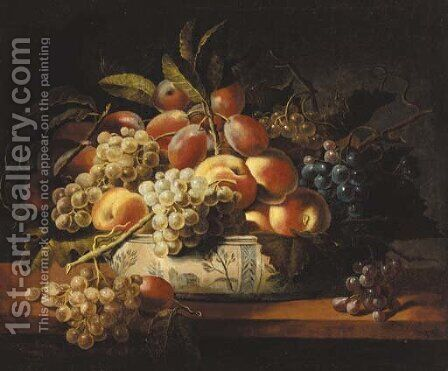 Plums, grapes, and peaches in a blue and white bowl on a table by (after) Louise Moillon - Reproduction Oil Painting