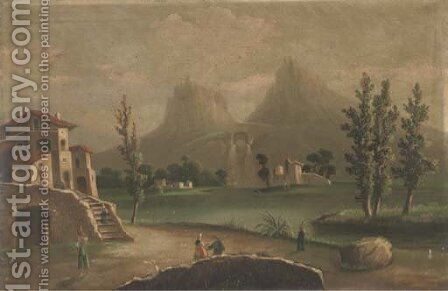 Figures in a continental landscape, with hills beyond by (after) Marco Ricci - Reproduction Oil Painting