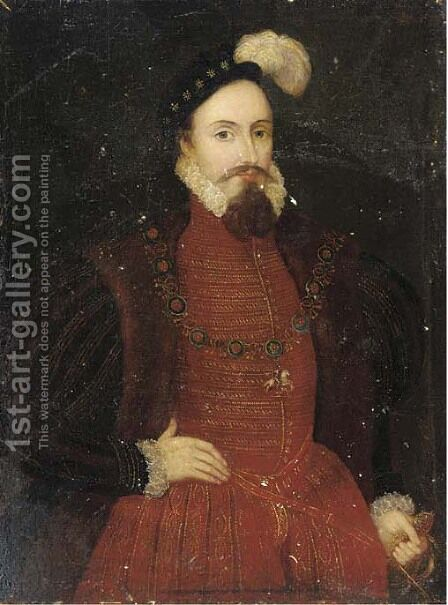 Portrait of a gentleman by (after) Marcus The Younger Gheeraerts - Reproduction Oil Painting