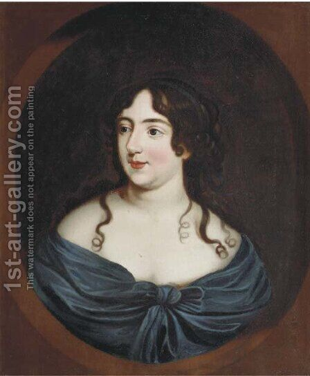 Portrait of a lady, half-length, in a blue dress, in a feigned oval by (after) Mary Beale - Reproduction Oil Painting