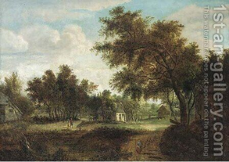 A wooded village landscape with peasants on a track by (after) Meindert Hobbema - Reproduction Oil Painting