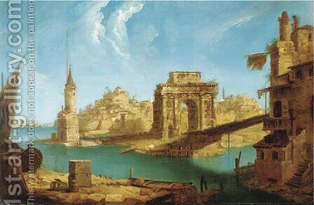 An architectural capriccio of Roman ruins and other buildings in the Laguna by (after) Michele Marieschi - Reproduction Oil Painting