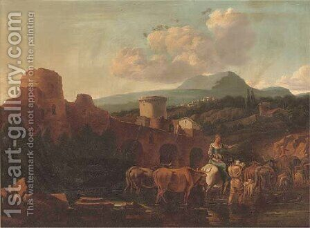 A landscape with drovers and their cattle fording a river by (after) Nicolaes Berchem - Reproduction Oil Painting