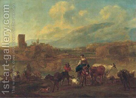 An Italianate landscape with cattle, drovers and travellers crossing a ford, a village beyond by (after) Nicolaes Berchem - Reproduction Oil Painting