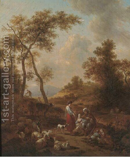 An Italianate landscape with Jacob, Leah and Rachel by (after) Nicolaes Berchem - Reproduction Oil Painting