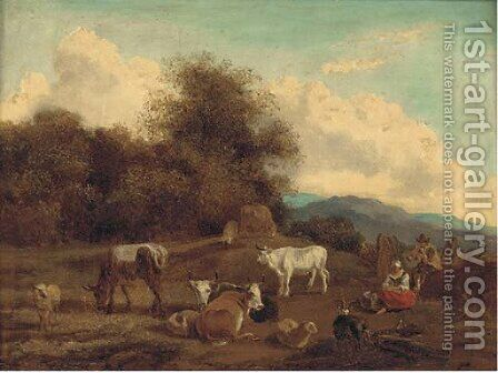 Cattle in a landscape by (after) Nicolaes Berchem - Reproduction Oil Painting