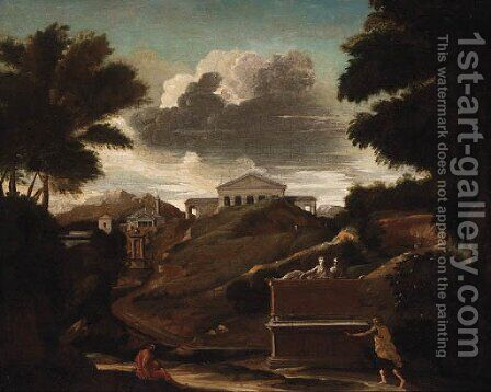 A classical Landscape with Figures by a Tomb, a Temple beyond by (after) Nicolas Poussin - Reproduction Oil Painting