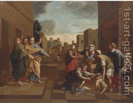 The Expulsion from the Temple by (after) Nicolas Poussin - Reproduction Oil Painting