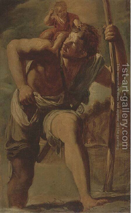 Saint Christopher by (after) Orazio Gentileschi - Reproduction Oil Painting