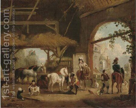 A hunting party setting out from a barn by (after) Philips Wouverman - Reproduction Oil Painting