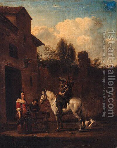 A Horseman taking refreshment in a Courtyard by (after) Philips Wouwerman - Reproduction Oil Painting