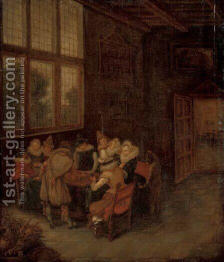 Elegant company conversing at a table in an interior by (after) Pieter De Hooch - Reproduction Oil Painting