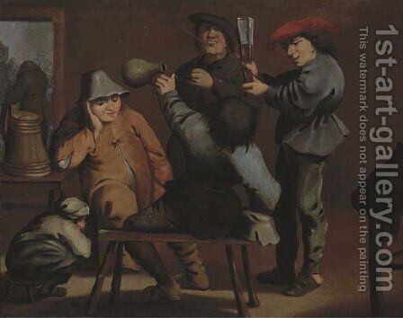 Peasants drinking and smoking in an interior by (after) Pieter Jansz. Quast - Reproduction Oil Painting