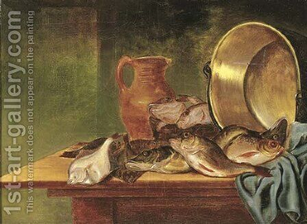 Plaice, red gurnard and other fish in a basket by (after) Pieter Van Schaeyenborgh - Reproduction Oil Painting