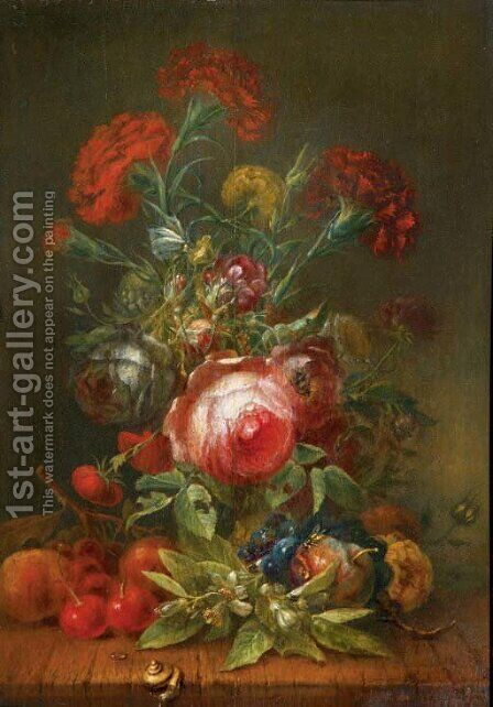 Roses, carnations, poppies and other flowers in a vase, with cherries, grapes and peaches on a wooden ledge by (after) Rachel Ruysch - Reproduction Oil Painting