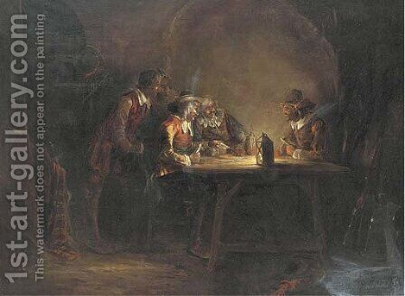 The card players by (after) Rembrandt Van Rijn - Reproduction Oil Painting