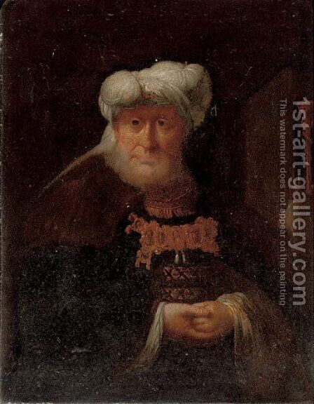 Portrait of a gentleman as an Oriental by (after) Rembrandt Van Rijn - Reproduction Oil Painting