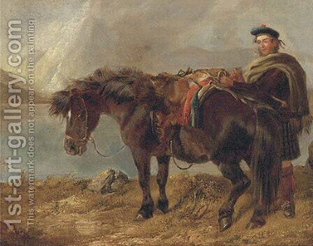 A gillie with a pony by a loch by (after) Richard Ansdell - Reproduction Oil Painting