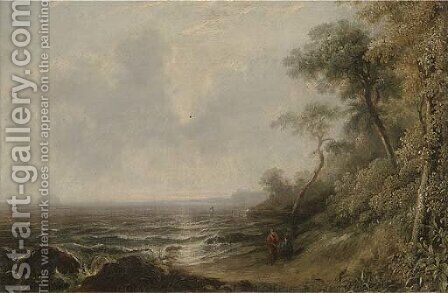 Figures on the shore, evening by (after) Richard Parkes Bonnington - Reproduction Oil Painting