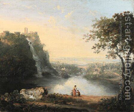 A Landscape with the Falls of Tivoli by (after) Richard Wilson - Reproduction Oil Painting
