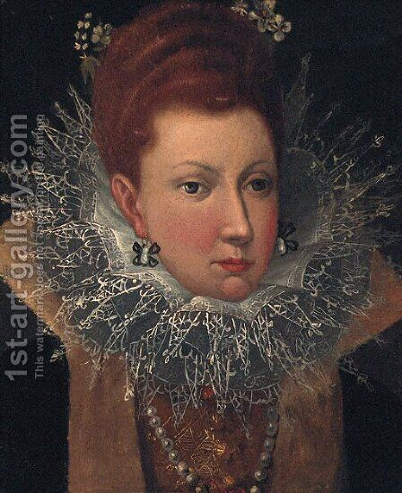 Portrait of a Lady, head and shoulders, wearing a lace ruff with flowers in her hair by (after) Robert Peake - Reproduction Oil Painting