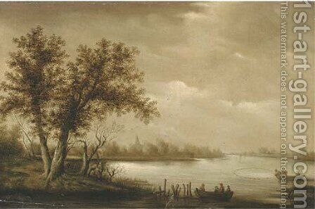 A wooded river landscape with fishermen bringing in their catch by (after) Salomon Van Ruysdael - Reproduction Oil Painting