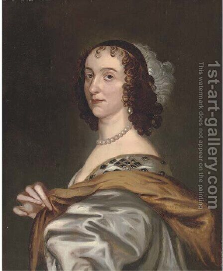 Portrait of a lady, half-length, wearing a pearl necklace by (after) Dyck, Sir Anthony van - Reproduction Oil Painting