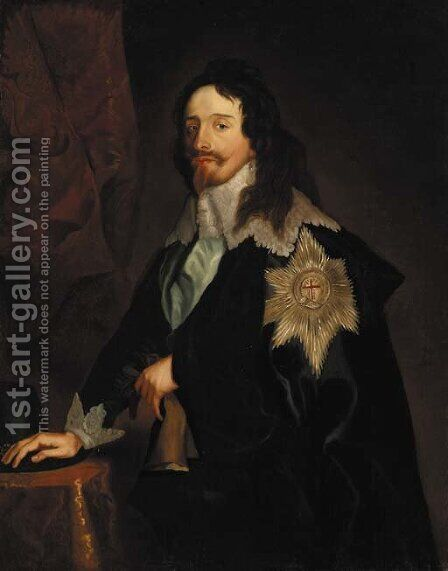 Portrait of King Charles I, three-quarter-length, in a dark blue coat with lace collar and cuffs, wearing the Order of the Garter by (after) Dyck, Sir Anthony van - Reproduction Oil Painting