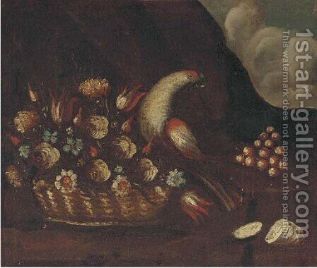 A basket of flowers and a parrot by (after) The Pseudo-Guardi - Reproduction Oil Painting