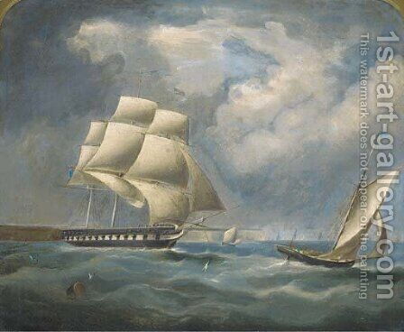 A frigate under reduced rig in the Channel by (after) Thomas Buttersworth - Reproduction Oil Painting