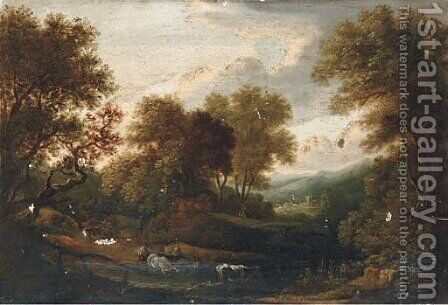 A herder watering his cattle, a hamlet beyond by (after) Gainsborough, Thomas - Reproduction Oil Painting