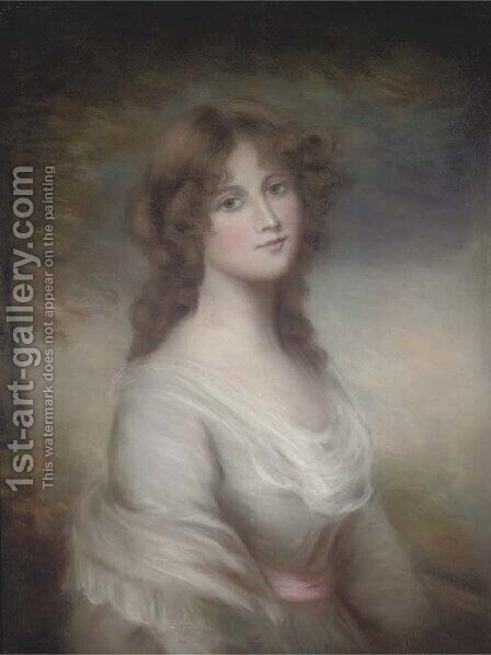 Portrait of a lady, half-length, in a romantic landscape by (after) Gainsborough, Thomas - Reproduction Oil Painting