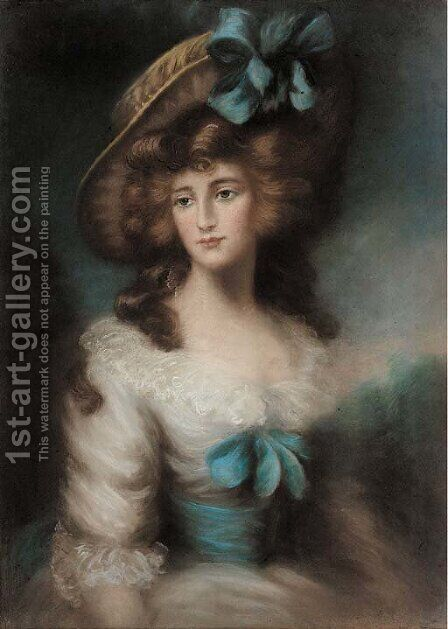 Portrait of a lady, half-length, wearing a blue ribbon in her bonnet by (after) Gainsborough, Thomas - Reproduction Oil Painting
