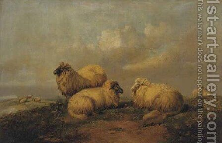 Sheep resting on the moors by (after) Thomas Sidney Cooper - Reproduction Oil Painting