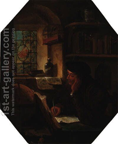 A scholar writing at a table by a window by (after) Thomas Wyck - Reproduction Oil Painting