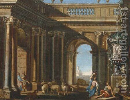 An architectural capriccio with figures conversing by a classical Roman vase by Domenico (Micco Spadaro) Gargiulo - Reproduction Oil Painting