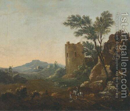 An Italianate landscape with travellers on a track, a ruined castle beyond by (after) Willem De Heusch - Reproduction Oil Painting