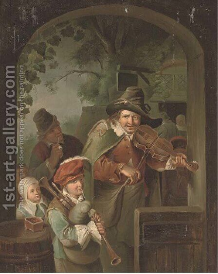 Musicians at an entrance to an inn by (after) Willem Van Mieris - Reproduction Oil Painting